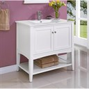 "Fairmont Designs Shaker Americana 36"" Vanity - Open Shelf for Integrated Top - Polar White 1512-VH36-"