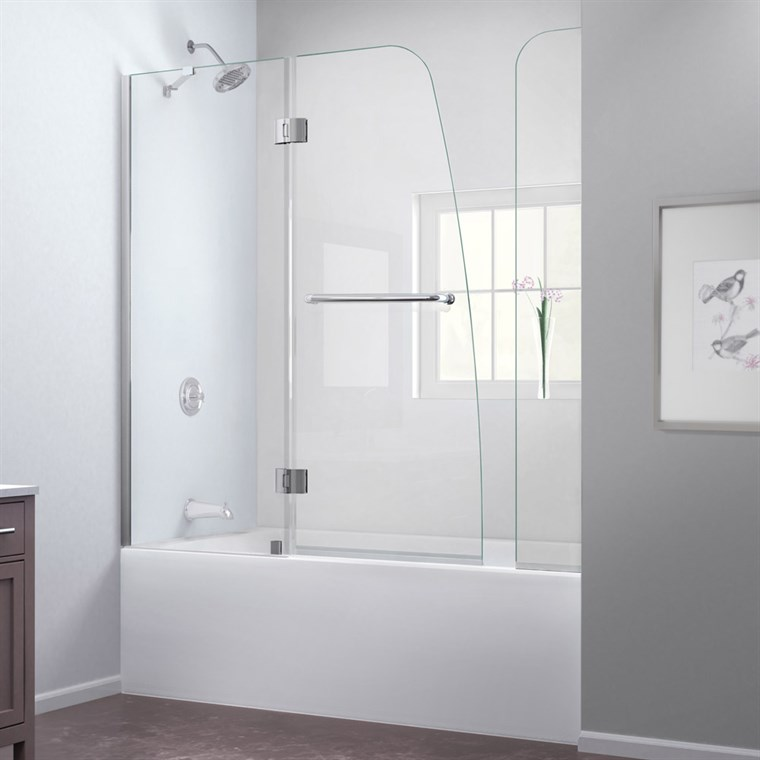 "Bath Authority DreamLine Aqua Frameless Hinged Tub Door (56"" - 60"") with Extender Panel SHDR-3148586-EX"