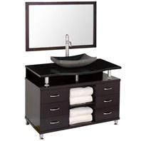 "Accara II 48"" Bathroom Vanity with Drawers - Espresso w/ Black Granite Counter B706T-48-ESP-BLK-GR"