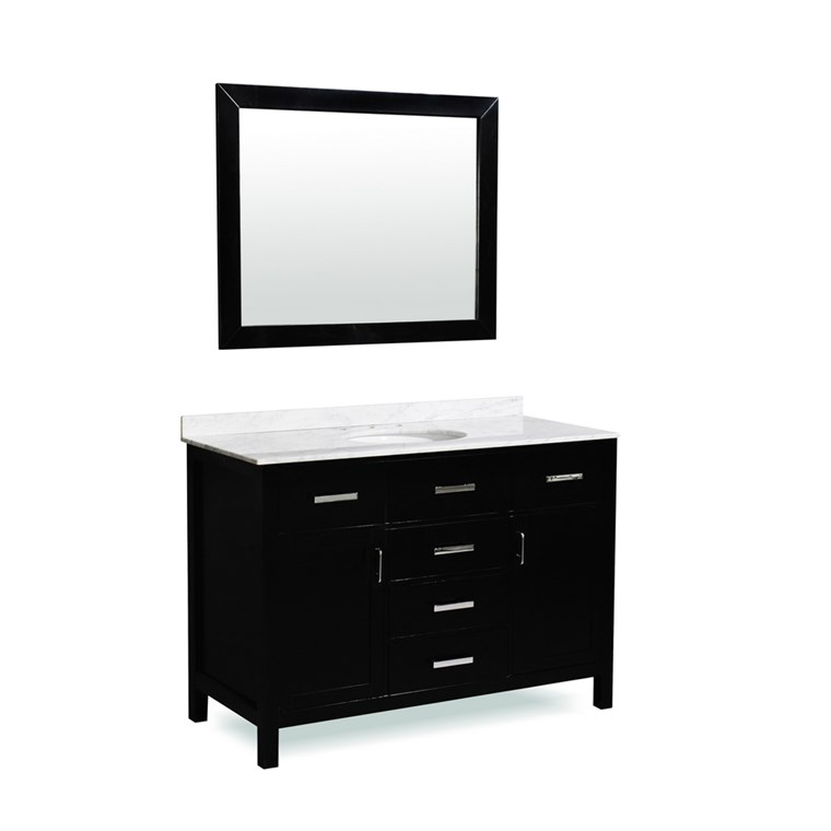 "Belmont decor Hampton 49"" Single Sink Vanity Set with Carrera White Marble Countertop - Espresso SM5D5-48-BLK"