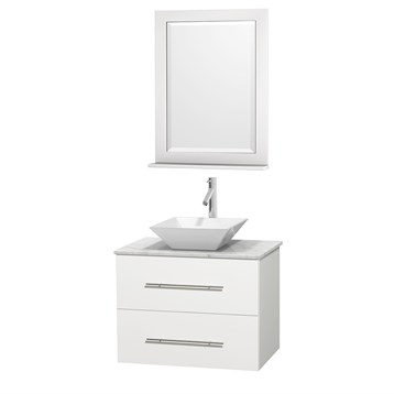 "Centra 30"" Single Bathroom Vanity for Vessel Sink by Wyndham Collection, Matte White WC-WHE009-30-SGL-VAN-WHT_ by Wyndham Collection®"