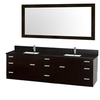"Encore 78"" Double Bathroom Vanity Set - Espresso with Black Granite Countertop CG4000-78-ESP-BLK"
