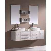 "Virtu USA Augustine 59"" Double Sink Bathroom Vanity - White UM-3051-S-WH"