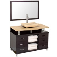 "Accara II 48"" Bathroom Vanity with Drawers - Espresso w/ Ivory Marble Counter B706T-48-ESP-IVO"