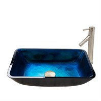 VIGO Rectangular Turquoise Water Glass Vessel Sink and Dior Faucet Set in Brushed Nickel Finish VGT794