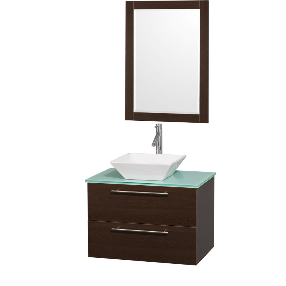 Amare 30 inch Wall Mounted Bathroom Vanity Set with Vessel Sink by Wyndham Collection Espresso