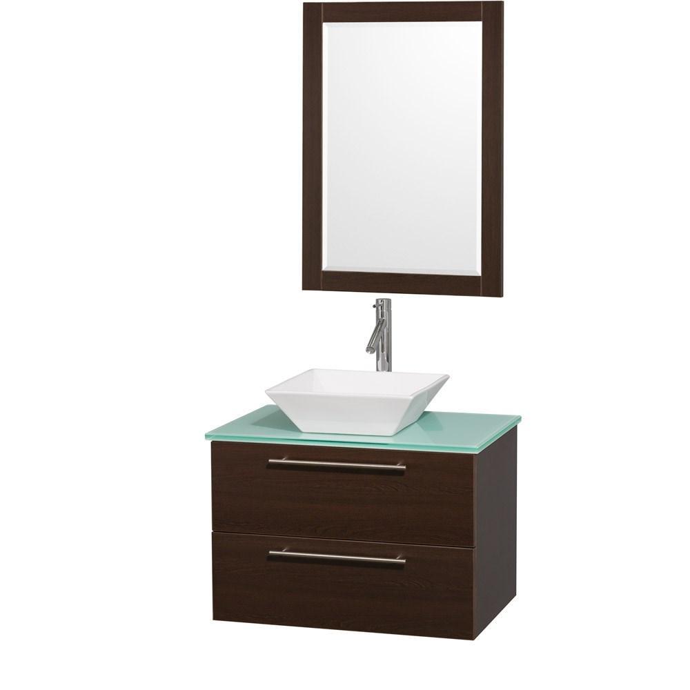 "Amare 30"" Wall-Mounted Bathroom Vanity Set with Vessel Sink by Wyndham Collection - Espressonohtin Sale $899.00 SKU: WC-R4100-30-ESP- :"