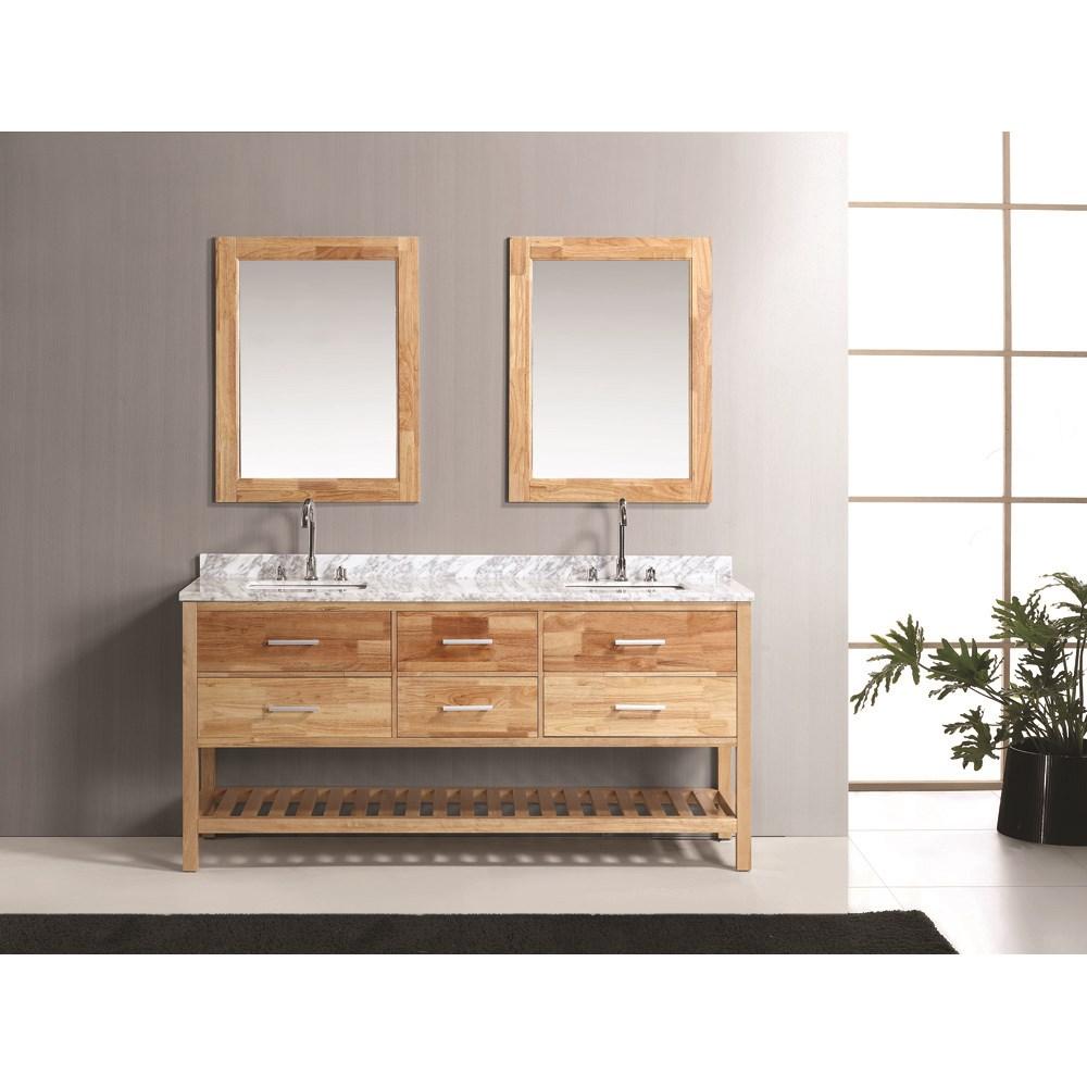 . Design Element London 72  Double Bathroom Vanity Set with Open Bottom   Oak