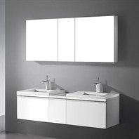 "Madeli Venasca 60"" Bathroom Vanity with Quartzstone Top - Glossy White Venasca-60-GW-Quartz"