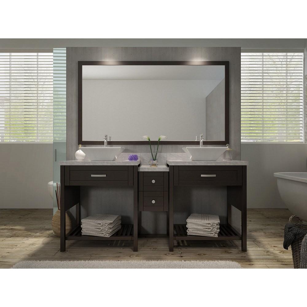 "Ariel Kennedy 73"" Double Sink Vanity Set with Carrera White Marble Countertop - Espressonohtin Sale $1899.00 SKU: H073D-ESP :"
