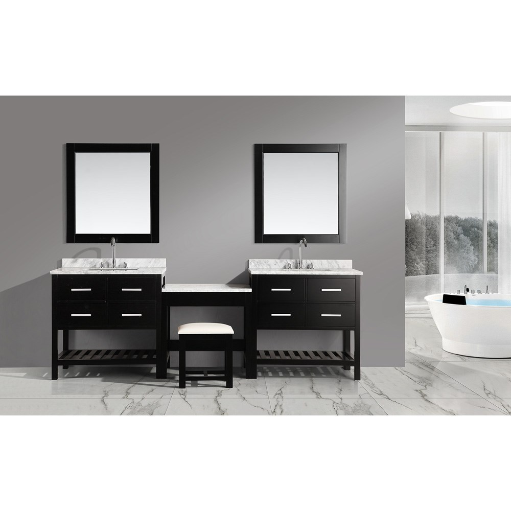 "Design Element London Two 36"" Vanities with Open Bottom and Make-up Table - Espresso DEC077AX2_MUT"