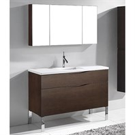 "Madeli Milano 48"" Bathroom Vanity for Quartzstone Top - Walnut B200-48C-021-WA-QUARTZ"