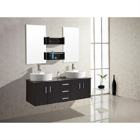 "Virtu USA Enya 59"" Double Sink Bathroom Vanity - Espresso UM-3053-ES"