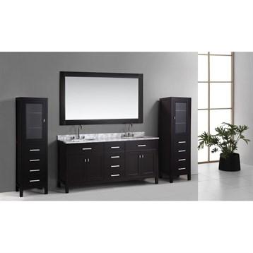 """Design Element London 72"""" Double Vanity Set with 2 Linen Cabinets, Espresso DEC076B_CAB004X2 by Design Element"""