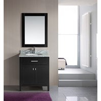 "Design Element London 30"" Single Vanity with White Carrera Countertop, Sink and Mirror - Espresso DEC076E"