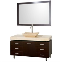 "Malibu 48"" Bathroom Vanity Set by Wyndham Collection - Espresso Finish with Ivory Marble Counter and Handles WC-CG3000H-48-ESP-IVO"