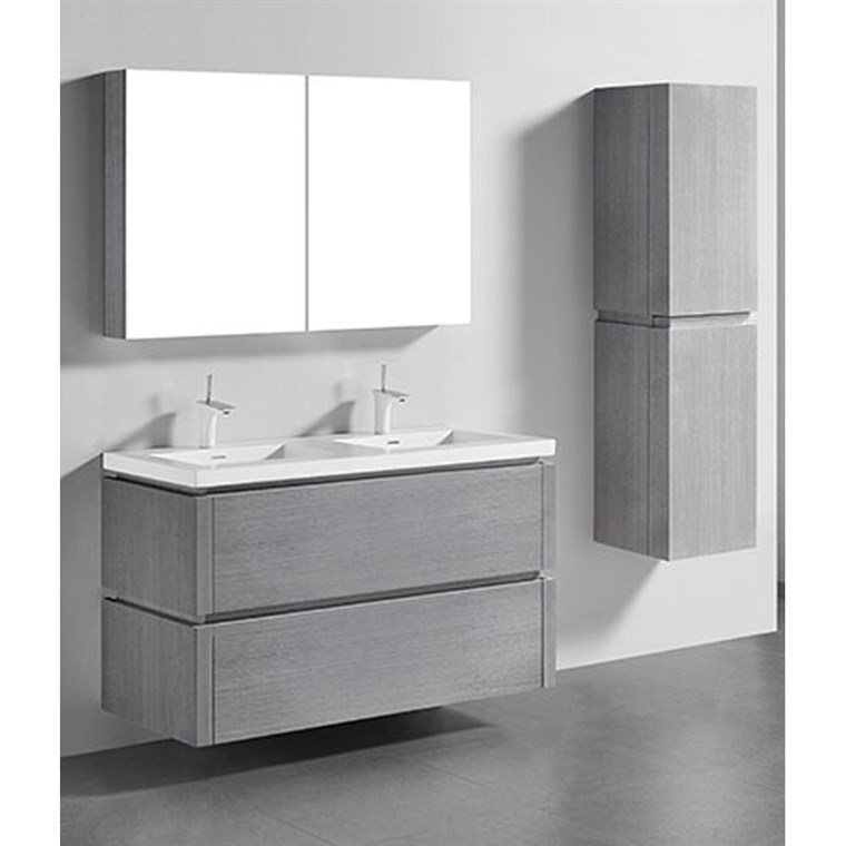 "Madeli Cube 48"" Double Wall-Mounted Bathroom Vanity for Integrated Basin - Ash Grey B500-48D-002-AG"