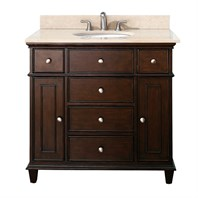 "Avanity Windsor 36"" Vanity with Galala Beige Marble Countertop with Sink - Walnut AVA11401-36-WAL-SET"