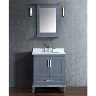 "Seacliff by Ariel Nantucket 30"" Single Sink Vanity Set with Carrera White Quartz Countertop - Whale Grey SC-NAN-30-SWG"