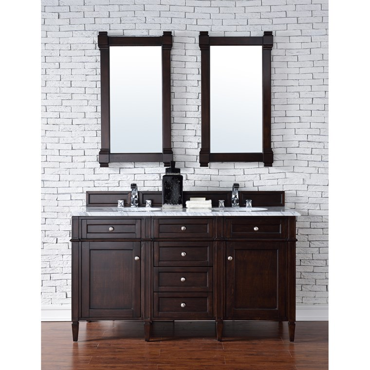 "James Martin 60"" Brittany Double Cabinet Vanity - Burnished Mahogany 650-V60D-BNM"
