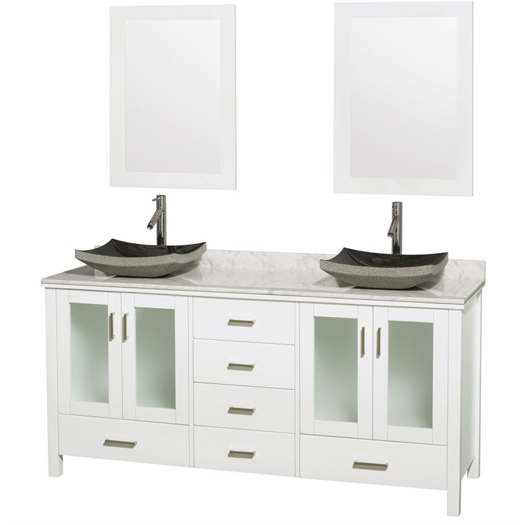 "Lucy 72"" Double Bathroom Vanity Set with Vessel Sinks by Wyndham Collection - White WC-MS015-72-WHT-OVER-"