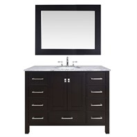"Stufurhome 48"" Lissa Espresso Single Sink Bathroom Vanity With 47"" Mirror GM-6412-48ES-CR-M47"