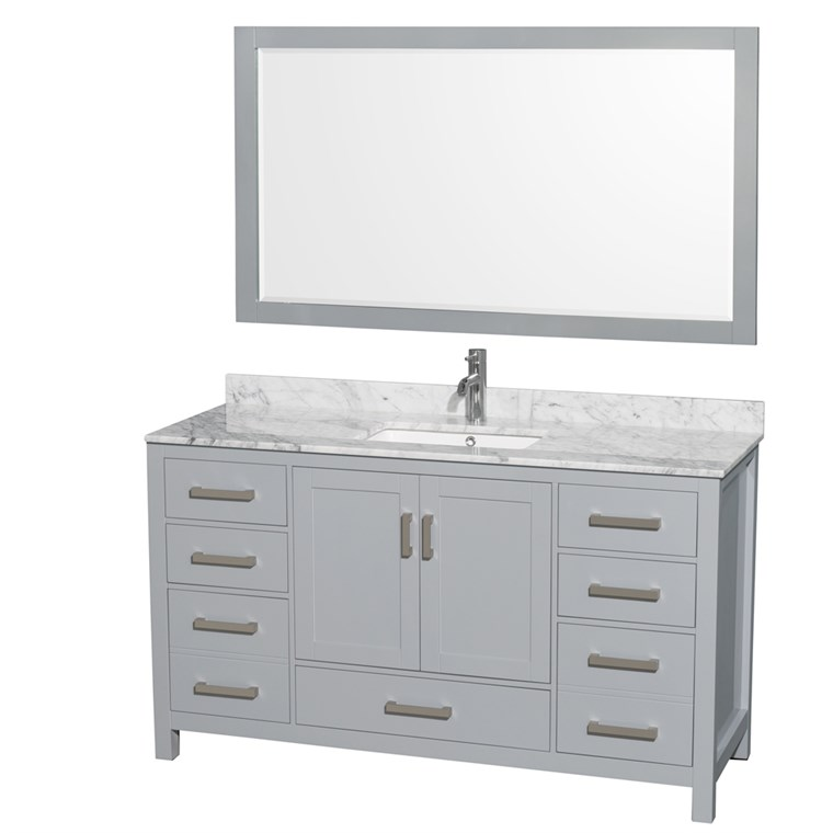 "Sheffield 60"" Single Bathroom Vanity by Wyndham Collection - Gray WC-1414-60-SGL-VAN-GRY"