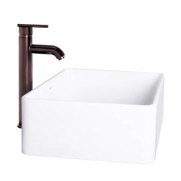 Vigo Caladesi Matte Stone Vessel Sink and Seville Bathroom Vessel Faucet in Oil Rubbed Bronze VGT1024 by Vigo Industries