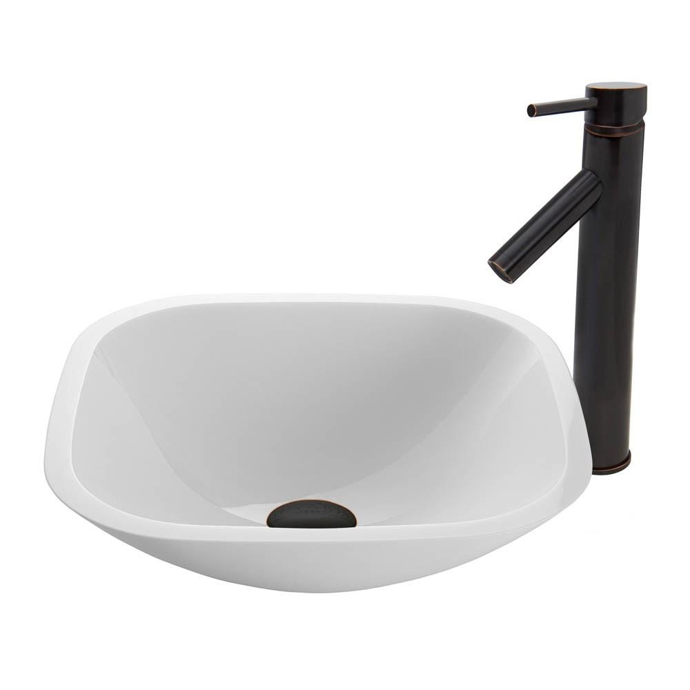 Vigo Square Shaped White Phoenix Stone Vessel Sink And Dior Faucet