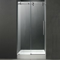 "VIGO 48-inch Frameless Shower Door 3/8"" Clear/Stainless Steel Hardware with White Base - Center Drain VG6041STCL48WS"