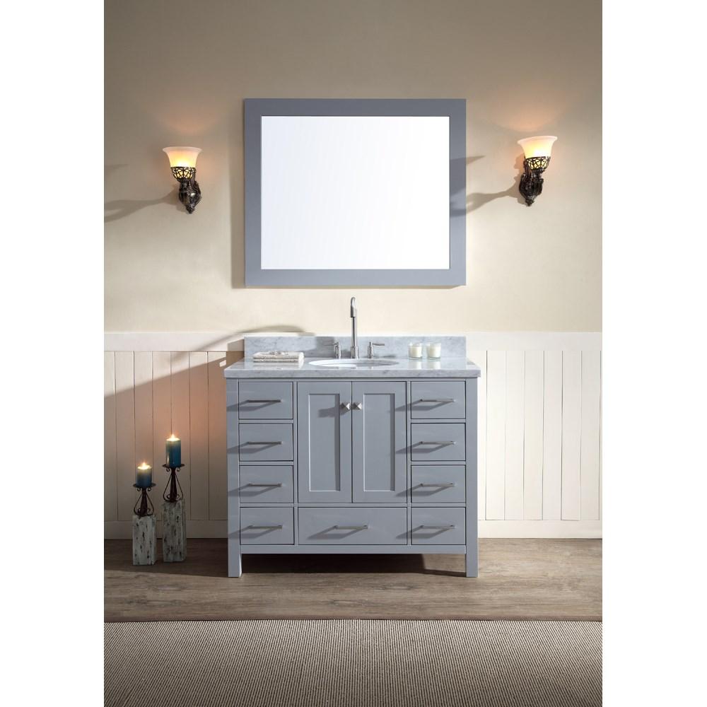 "Ariel Cambridge 43"" Single Sink Vanity Set with Carrera White Marble Countertop - Greynohtin Sale $1349.00 SKU: A043S-GRY :"