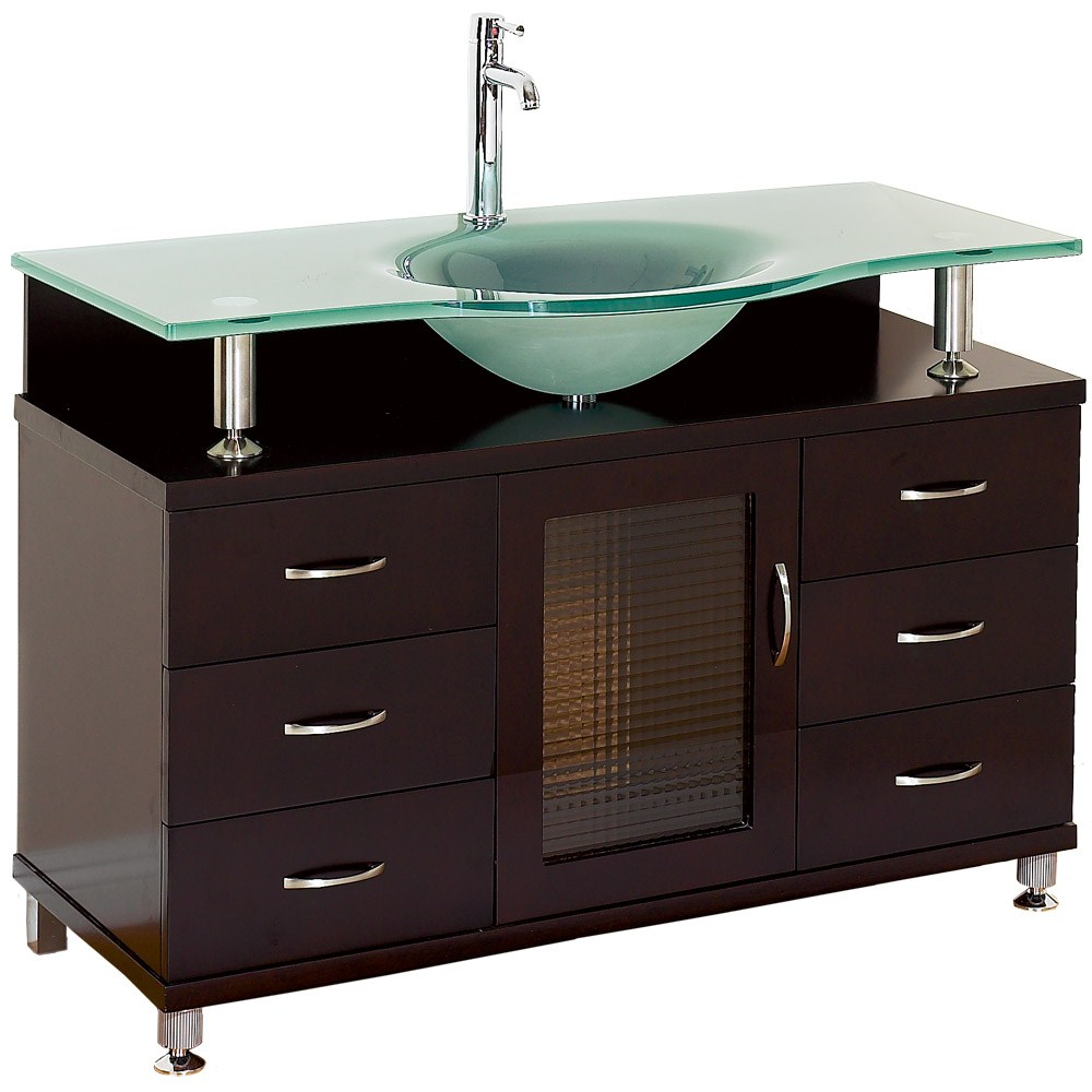Long Darkwood Floating Frosted Glass Single Sink Multi-Drawer Vanity