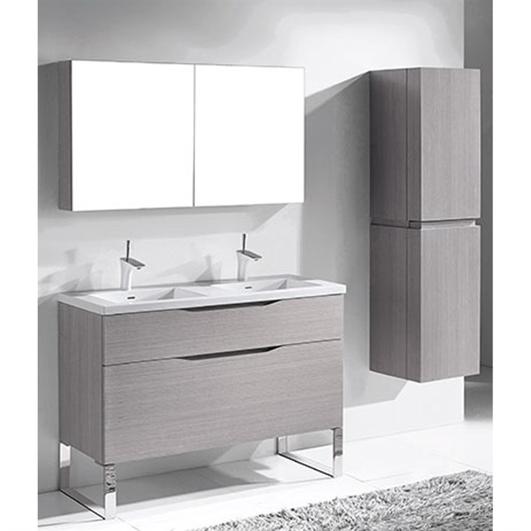 "Madeli Milano 48"" Double Bathroom Vanity for Integrated Basins - Ash Grey B200-48D-021-AG"