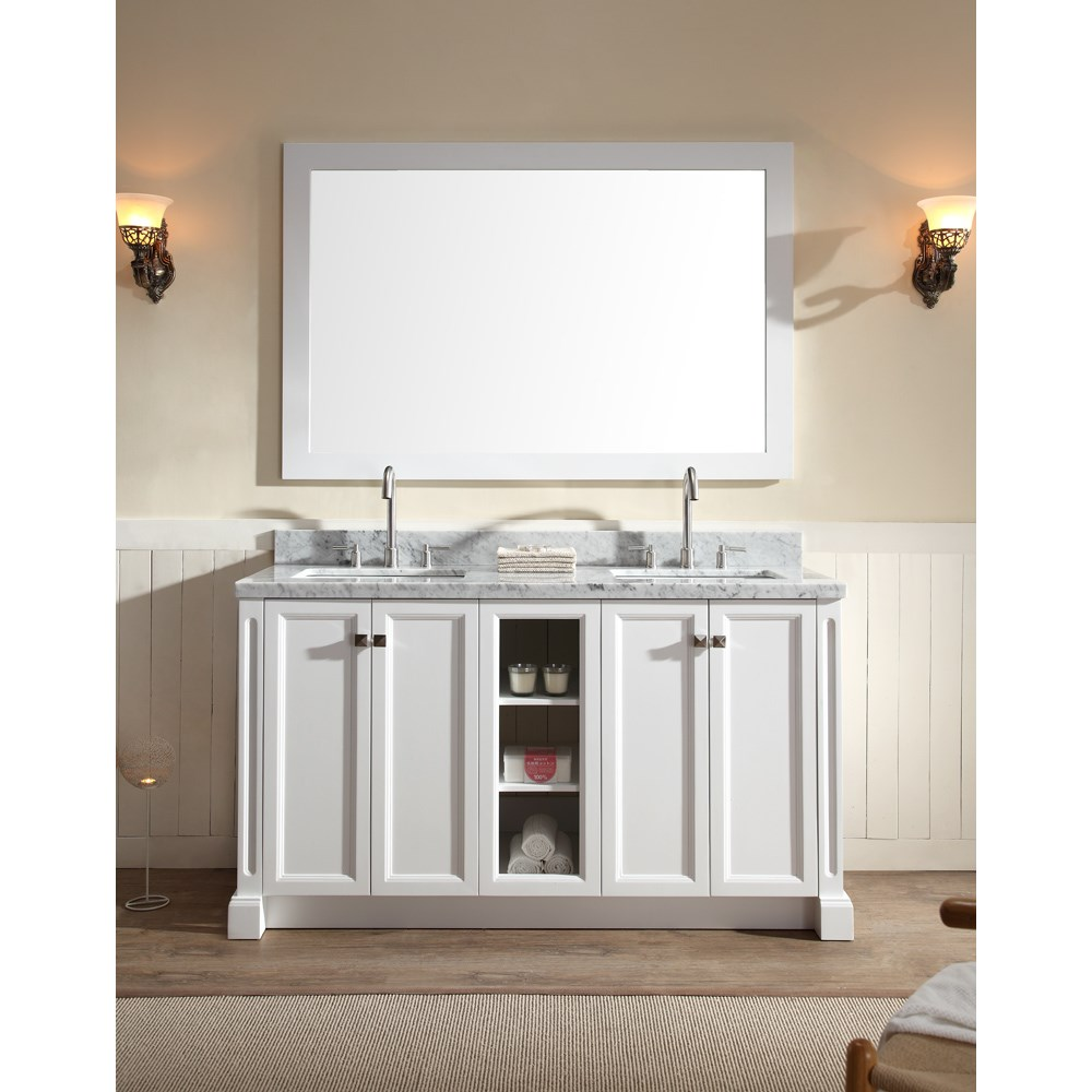 "Ariel Westwood 61"" Double Sink Vanity Set with Carrera White Marble Countertop - Whitenohtin Sale $1549.00 SKU: C061D-WHT :"