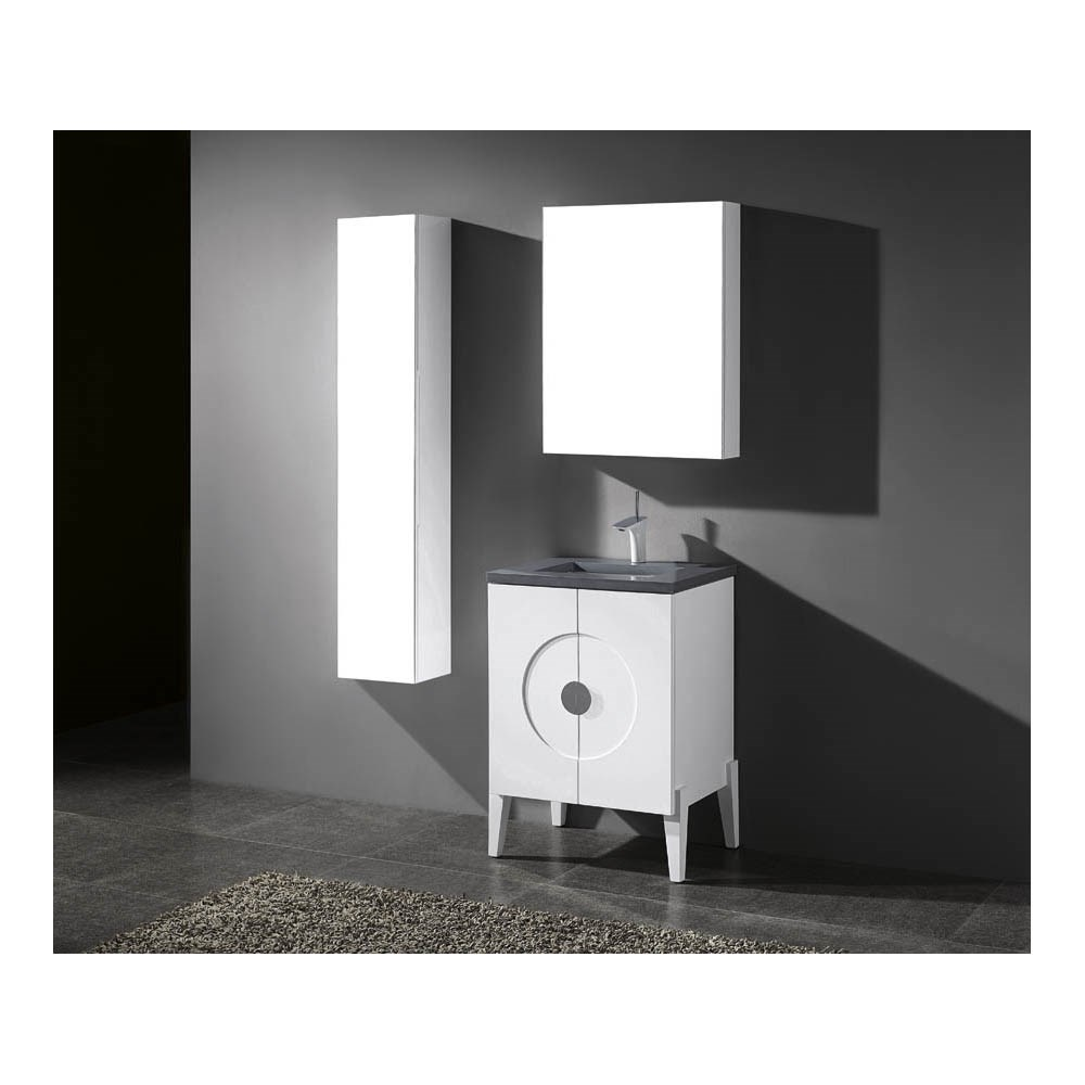 "Madeli Genova 24"" Bathroom Vanity for Quartzstone Top - Glossy Whitenohtin"