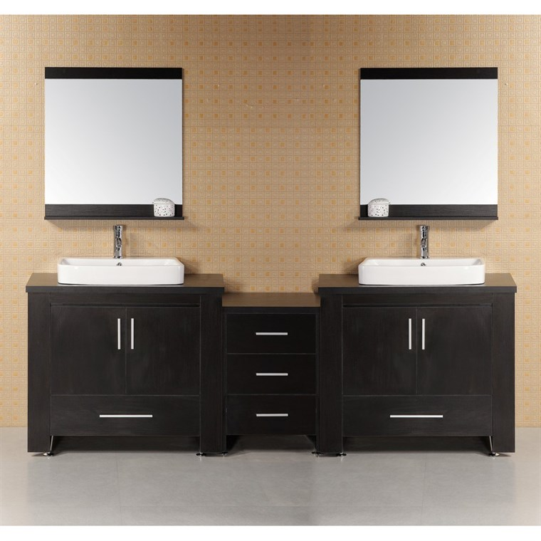 "Design Element Washington 96"" Modern Bathroom Vanity - Espresso DEC083-E"