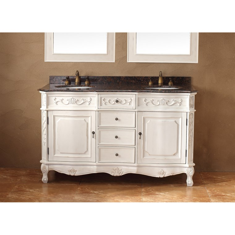 "James Martin 60"" Costa Blanca Double Vanity with Granite Top - White 206-001-5519"
