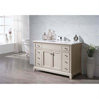 "Stufurhome Erin 49"" Single Sink Bathroom Vanity with White Quartz Top - Beige HD-6004-49-QZ"