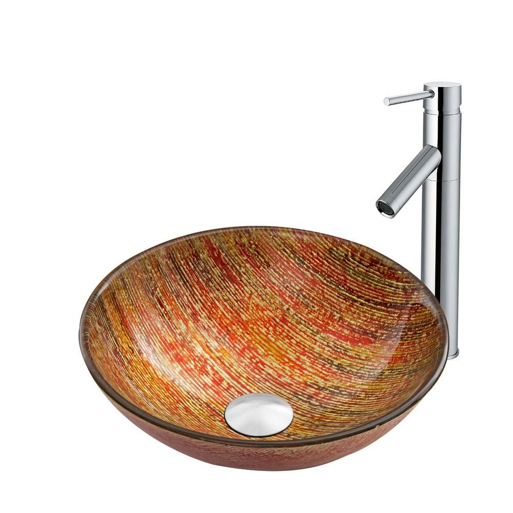 VIGO Blazing Fire Glass Vessel Sink and Dior Faucet Set in Chrome Finishnohtin Sale $225.90 SKU: VGT818 :