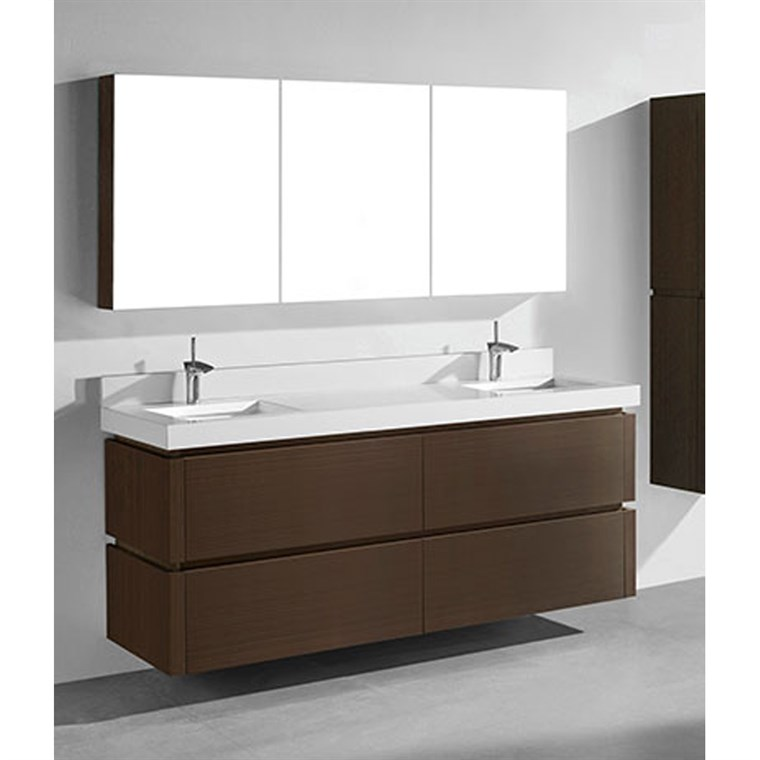 "Madeli Cube 72"" Double Wall-Mounted Bathroom Vanity for Quartzstone Top - Walnut B500-72D-002-WA-QUARTZ"