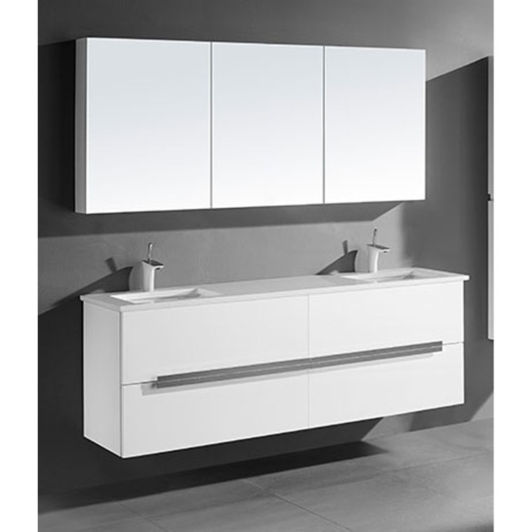 "Madeli Urban 72"" Double Bathroom Vanity for Quartzstone Top - Glossy White B300-72D-002-GW-QUARTZ"