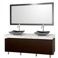 "Malibu 72"" Double Bathroom Vanity Set by Wyndham Collection - Espresso Finish with White Carrera Marble Counter WC-CG3000-72-ESP-WHTCAR"