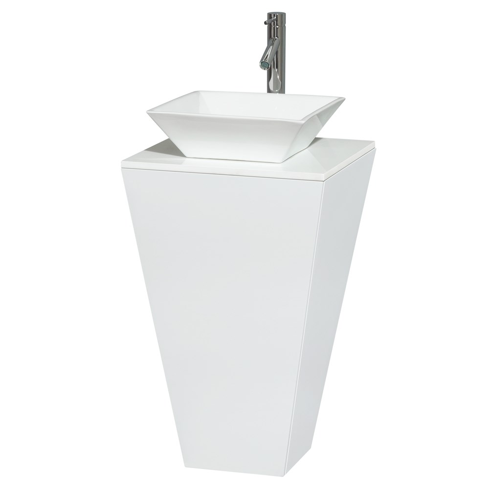 Esprit Bathroom Pedestal Vanity Set by Wyndham Collection - Glossy White