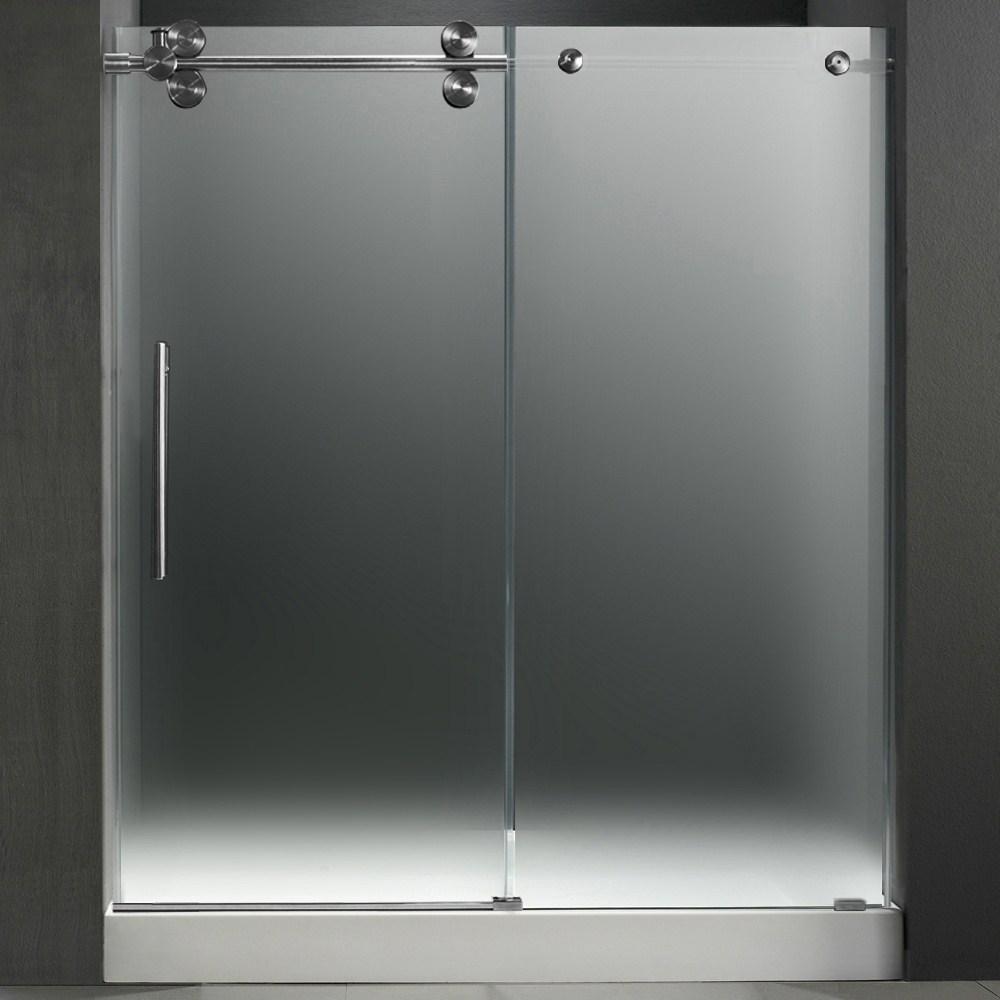 Vigo 60 Inch Frameless Shower Door 38 Frostedstainless Steel