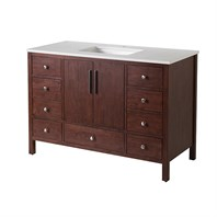 "Stufurhome Rockford 49"" Single Sink Bathroom Vanity with White Quartz Top - Natural Wood TY-7555-49-QZ"
