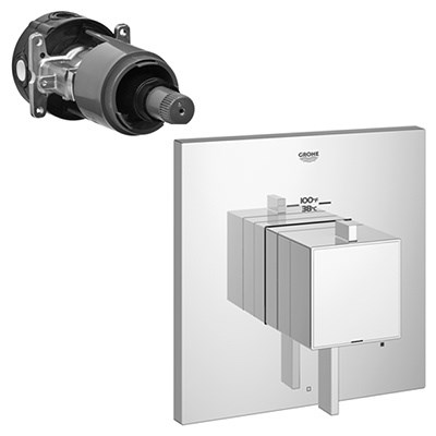 Grohe Eurocube Square Single Function Thermostatic Trim with Control Module - Starlight Chrome GRO 19926000