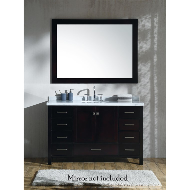 "Ariel Cambridge 55"" Single Sink Vanity with Carrara White Marble Countertop - Espresso A055S-VO-ESP"