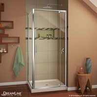 "DreamLine Flex 28-32"" Adjustable W x 32"" D x 74-3/4"" H Frameless Shower Enclosure and Base Kit, Chrome Finish Hardware DL-6714"