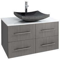 "Bianca 36"" Wall-Mounted Modern Bathroom Vanity - Grey Oak WHE007-36-GROAK"