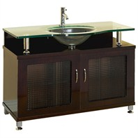 "Accara  36"" Bathroom Vanity - Doors Only - Espresso w/ Clear or Frosted Glass Counter"